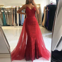Red Lace Elegant Mermaid Prom Dresses Women For Formal Party...