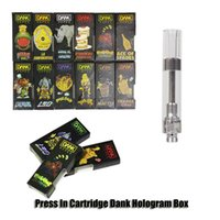Dank Holographic Black Package box Vape Cartridges G5 510 1.0ml Vite filettata 1 Gram Ceramic Coil 2.0mm Hole cartridgeThick Oil Cartridges