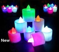 Multicolor elettronica della candela della luce LED Simulazione lume di candela di compleanno di nozze senza fiamma candela infiammante di plastica della decorazione della casa EEA1693