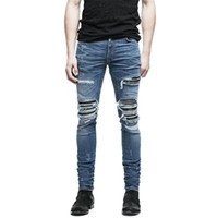MORUANCLE Marque Designer Mens Biker Déchiré Jeans Hi-Street Distressed Moto Denim Joggers Pantalon En Cuir Patchwork Noir Bleu
