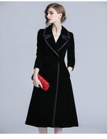 2019 Trench coat in velluto autunno inverno Donna Abrigo Mujer Lungo Elegante intaglio Outwear Soprabito femminile Sottile trench cardigan nero