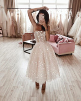 2019 sexy spaghetti shinning star A-Line Prom Dresses tulle sequined elegant evening formal gowns tea length custom made ogstuff