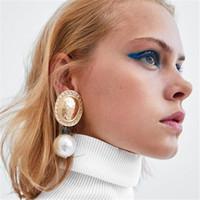 orecchini europei e americani in metallo perle esagerati grandi nomi retrò orecchini accessori delle donne gli orecchini della Boemia
