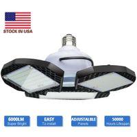 LED 차고 조명 변형 가능한 LED 차고 천장 조명 60W 80W CRI 80 LED 높은 베이 램프 3 조정 가능한 패널