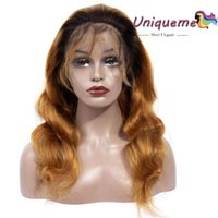 150% Density Ombre Brazilian Human Hair Wig Body Wave Gluele...