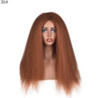 Tam Yoğunluklu Sapıkça Düz Peruk Tutkalsız Olmayan Dantel Sentetik Saç Peruk 24 inç Açık Kahverengi Makine Yapımı Yaki Saç Peruk Kadınlar Için