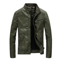 New Spring Men' s Leather Jackets Stand Collar Motorcycl...