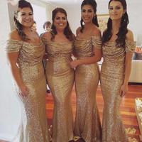 2019 Zarif Altın Pullu Mermiye Nedime Elbiseler Kapalı Omuz Pleats Köpüklü Düğün Konuk Elbiseleri Ucuz