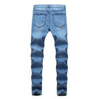 Mens Designer Jeans WEST Ripped Distressed long Bleu clair rayé Jean PANTALON Mode