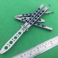 Die eine Option Benchmade-Stil Blaues Loch Griff Schmetterling taktische Klapp Tanto Trainer Klinge Nicht scharf EDC BM42 BM47 Live Training Messer