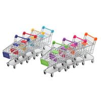Toptan 6 renk Mini Süpermarket Handcart Yardımcı Alışveriş Sepeti Modu Depolama Organizatör Chidren Hediye Çocuk Oyuncak Noel SN2439