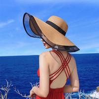 Chapeaux larges chapeaux d'été chapeau d'été gros paille pour femmes vintage blanc blanc blanc de vacances de vacances bouchons de la plage de ruban femelle UV soleil