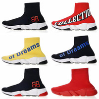 Designer Speed ​​Stretch Tricot Chaussettes Mi Sneakers Of Dreams Hommes Femmes Chaussures Paris Triple S Running Chaussures TAILLE 36-45