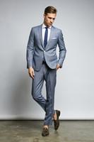 Moda Grigio smoking dello sposo eccellente Notch risvolto Slim Fit Uomini Groomsmen Weding smoking giacca sportiva degli uomini vestito convenzionale da promenade del partito (Jacket + Pants + Tie) 58