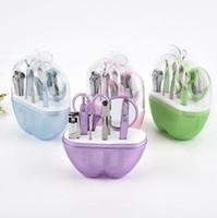 8 stücke Tragbare edelstahl Nail art Maniküre Set Nagelpflege Werkzeuge mit Mini Finger Nagelschneider Clipper Datei Schere Pinzette