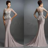 Скромная мама невесты русалки вечерние платья длинная формальная мать жених формальных платьев с обещими иллюзорными рукавами кружевных аппликаций
