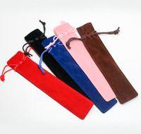 Креативный дизайн Плюшевые Бархатная Pen сумка держатель одного карандаша мешок Pen дело с веревкой Офис школы письменных принадлежностей для студентов Рождественский подарок