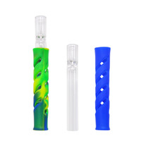 2018 New Glass & FDA Silicone One Hitter Tobacco Smoking Her...