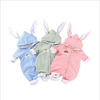 Baby pagliaccetti Ragazzi con cappuccio dell'orecchio di coniglio delle tute bambini Stilisti Infant maniche lunghe tute del cotone Tutina Tuta vestiti di ascensione C6032