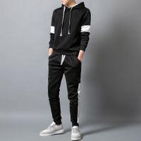 Homens Define com capuz desportivo terno agasalho Outfit Suit 2 peças conjunto de ternos Hoodies calças compridas Outono quente Mens Clothing Drop Shipping