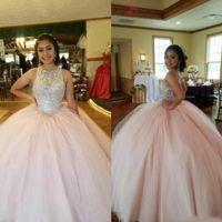 Blush Cristal Rosa Quinceanera Vestidos 2020 Jewel Tule Ball Vestido Vestidos 15 Anos Doce 16 Andar comprimento Plus Size Prom Vestido