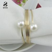 Liga de prata / banhado a ouro pérola Bead guardanapo anel de guardanapo Buckle Titular Hotel Wedding Party Decoration Favor