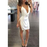 Лето сплошной цвет белое вино красный ремешок без спинки платье боковая открытая глубокая V-образным вырезом сексуальное платье темперамент мини