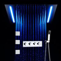 도매 LED 원격 4 인치 바디 제트, 욕실 마사지 샤워 믹서 세트 색상 변경 360x500mm 천장 샤워 헤드 세트를 제어