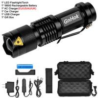 GNHOK Mini Zoom Cree XML-T6 / L2 LED-Taschenlampe LED-Fackel 5-Modus 3800 Lumen wasserdicht 18650 wiederaufladbare Batterie