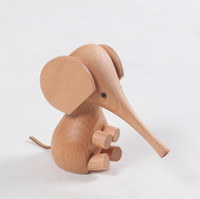 Zakka Cute 11cm Animal Figurine Wooden Sitting Elephant Kids Gift Doll Toys Crafts Decor Creative Business Present Home Decor Accessories