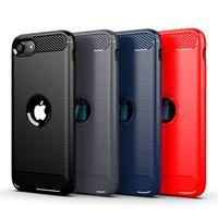 Voor iPhone SE 2020 12 11 PRO MAX 7 8 PLUS XR XS MAX RUGUTE Geborstelde koolstofvezel Anti vingerafdruk Zachte TPU-hoesje