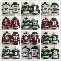 Mens Hoodies Minnesota Selvagem Hóquei Jerseys 9 Mikko Koivu 11 Zach Parise 40 Devan Dubnyk 22 Nino Niederreiter Hoodie Jerseys