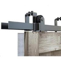 5-8FT Bypass Schiebe Scheune Doppelholztür Hardware oben montieren rustikal schwarz Scheunentor Rollensatz für niedrige Decke des neuen Entwurfs Schiebe