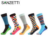 Мужские носки Sanzetti 5 пары / лот красочные полосатые наполненные оптические комбинированные хлопчатобумажные хлопковые забавные повседневные подарок новизны