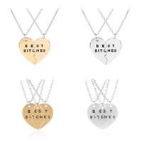 Trendiga 3 st / set Bästa tikar Hängsmycke Broken Heart Necklace för bästa vänner och bra flickvänner uppsättningar av kedjor gåva
