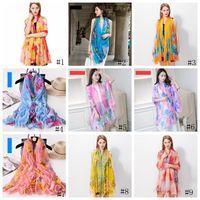 200 * 140cm Mode Foulards en soie Châle Femmes en mousseline de soie Beach Blanket serviette d'été imprimé floral crème solaire Wraps fille sarongs écharpe GGA3376-1