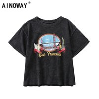 Vintage Fashion Women Harajuku Old Washed O- neck T- shirt Fas...