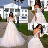 V- neck Neckline OFF the Shoulder Applique A- line Wedding Dre...