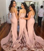 Onur Elbise Of 2019 Allık Pembe Gelinlik Modelleri Spagetti Askı Kolsuz Denizkızı Dantel Genç Ülke Gelinlik Modelleri Uzun Hizmetçi