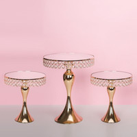 Золотой Кристалл Стенд торт гальванического Зеркала Face Главная Свадьба Декор Cupcake Stand лоток партия украшение стола