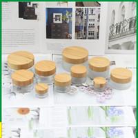5G 15G 30g 50g 100g Vide Verfe Verre Botte de recharge de pot en verre givré avec couvercle de bambou Soins de la peau Masque Conteneurs cosmétiques