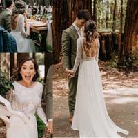 Vestido de noiva de praia com mangas compridas 2020 Vestido de Noiva Vintage Lace Top Chiffon Saia Boho Vestidos Bridais Varredura Trem