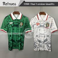 1998 México Retro Soccer Jersey 98 México Home Green Hernandez Blanco Campos # 11 Blanco Away Branco Clássico Futebol Camisas