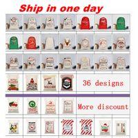 أكياس هدايا عيد الميلاد سانتا أكياس كبيرة قماش كاسين كبيرة مع الرنين 32 لونا للأطفال قبول الجملة مختلطة wll