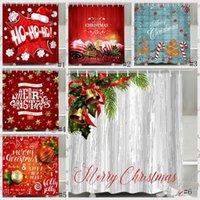Weihnachtsdusche Vorhang Santa Claus Schneemann wasserdicht 3D gedrucktes Badezimmer Duschvorhänge mit Haken Dekoration Vorhang GGA2753