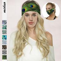 8 donne di colori di yoga Fasce della piuma del pavone stampato Protezione fitness multifunzionale Maschera per il viso casual Foulard sport esterno di Hairband