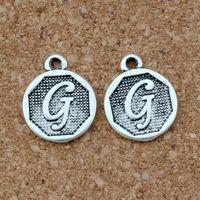 """100 قطعة / السلع العتيقة الفضة حرف """"g"""" الأبجدية سبيكة الأولي سحر المعلقات للمجوهرات صنع قلادة الاكسسوارات ديي"""