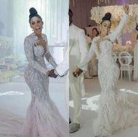 2020 Luxe Arabe Sirène Robes De Mariée De Mariée Jushek Cou Perles Perles De Perles Trompette Robe de mariée à manches longues Featest Vestidos de Novia Bride