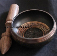 75mm Collectibles piuttosto Superb Tibetano OM Anello Gong YOGA Ciotola di canto Decorazione del giardino antico 100% reale Argento tibetano Ottone