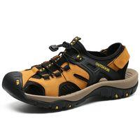أحذية ثقب الصنادل الذكور جلد طبيعي كروكس سدادات رجالي أحذية sandalias hombre sandles sandalet الصيف croc sandali جديد 2019